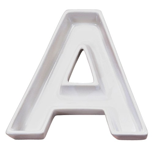 Ivy Lane Design Ceramic Love Letter Dish, Letter A, White