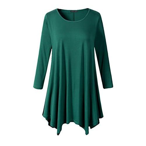 9bf11b5c302 Ecupper Women Plus Size 3 4 Sleeve Tunic Tops Loose Basic Irregular Tunic  Shirt