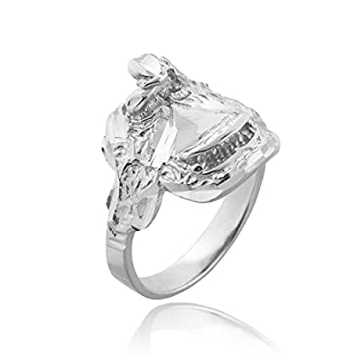 Dainty 925 Sterling Silver Country Girl Band Western Riding Saddle Ring