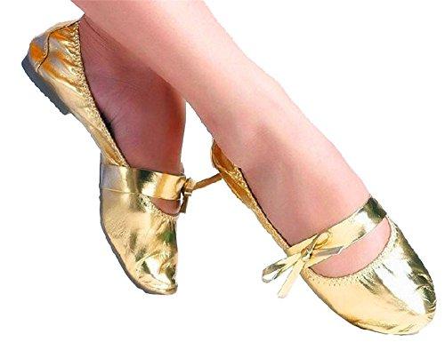 Staychicfashion Femmes En Cuir Verni Doux Ventre Yoga Pratique Chaussures De Danse En Plein Air Chaussures De Sport En Or