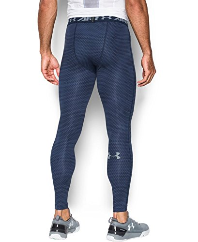 Under Armour Men's HeatGear Armour Printed Compression Leggings, Midnight Navy/Steel, Small by Under Armour (Image #1)