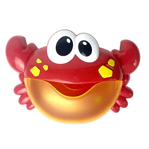 Zavarea Outdoor Bubble Frog & Crabs Baby Bath Toy Bubble Maker Swimming Bath Soap Machine Toys for Children with Music Water Toy (red)