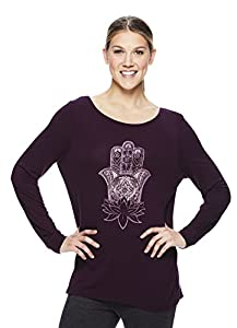 Gaiam Women's Long Sleeve Graphic Yoga T Shirt - Activewear Top w/Open Back - Hailey Pickled Beet, X-Small