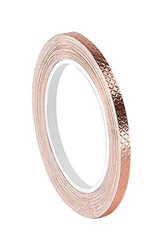 3M 1245 Embossed Copper Foil Tape - 0.25 in. x 18 ft. Pressure-Sensitive Acrylic Adhesive Tape for Grounding, EMI ()