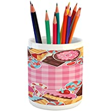 Ambesonne Ice Cream Pencil Pen Holder, Candy Cookie Sugar Lollipop Cake Ice Cream Girls Design, Printed Ceramic Pencil Pen Holder for Desk Office Accessory, Baby Pink Chestnut Brown Caramel