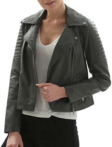 Fahsyee Women's Faux Leather Jackets, Zip Up Motorcycle Short PU Moto Biker Outwear Fitted Slim Coat Grey