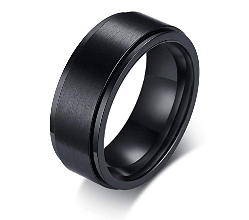 (POVANDER 8mm Men's Stainless Steel Spinner Ring Central Black Ion Brushed Finished Wedding Band Fidget)