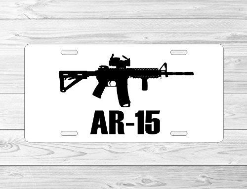 JS Artworks Ar15 AR-15 Front 6 x 12 Metal License Plate Frame