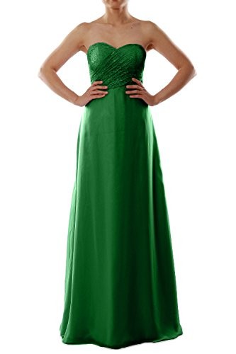 MACloth Women Strapless Lace Chiffon Long Bridesmaid Dress Evening Formal Gown Verde Oscuro