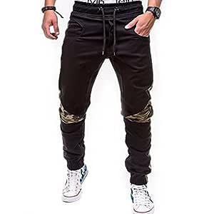 LuckyGirls Pantalones Hombres Chandal Camuflaje Patchwork Color de ...