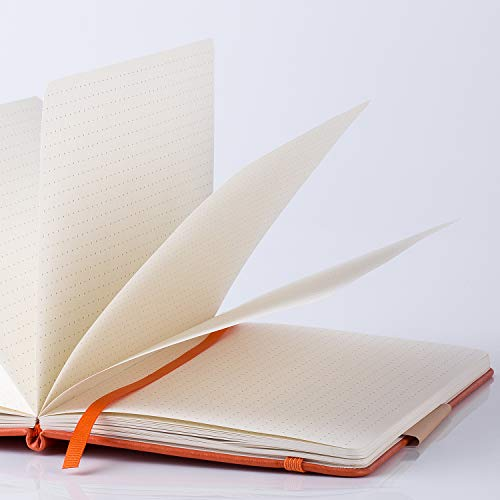 Large Product Image of Bullet Journal - Dot Grid Hard Cover Notebook, Premium Thick Paper with Fine Inner Pocket, Orange Smooth Faux Leather, 5''×8.25''