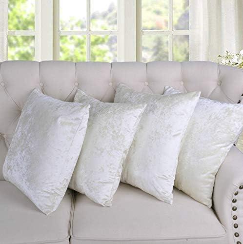 Home Soft Things Serenta Crushed Velvet 4 Piece Pillow Shell Set, Gardenia, 20 x 20