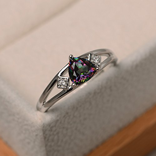 Mystic topaz ring sterling silver engraved customized trillion cut