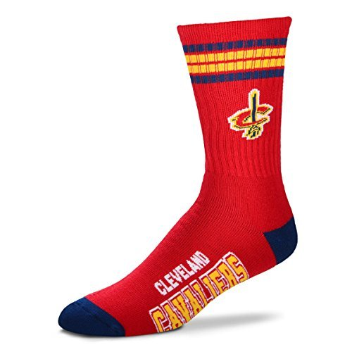 For Bare Feet NBA 4 Stripe Deuce Crew Men Socks-Cleveland Cavaliers-Large (10-13)