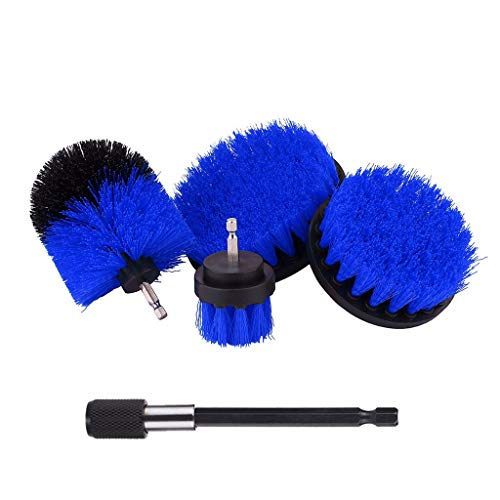 4Pcs Replaceable Power Scrubber Cleaning Drill Brush With Quick Change Extender Drill Scrub Brushes for Car Bathroom, Grout, Shower,Tub,Wooden Floor Time Saving Kit (Blue)