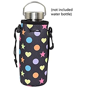 Water Bottle Sleeve, Carrier Cover Neoprene Water Bottle Drawstring Insulator Cooler Sleeve bag (Black Stars )