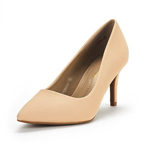 DREAM PAIRS Women's KUCCI Nude Nubuck Classic Fashion Pointed Toe High Heel Dress Pumps Shoes Size 5.5 M US