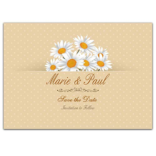 Daisy Polka Dots Save the Date Card Wedding Invitation