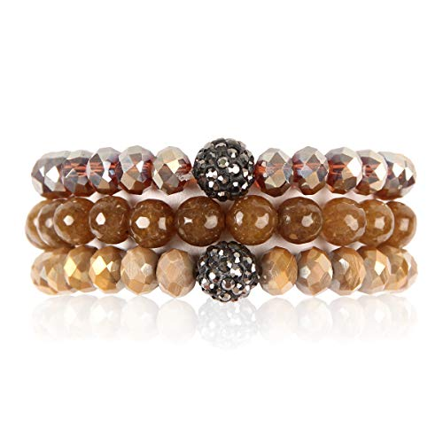 RIAH FASHION Bead Multi Layer Versatile Statement Bracelets - Stackable Beaded Strand Stretch Bangles Sparkly Crystal, Faux Druzy, Pave Fireball (Pave Ball & Natural Stone Mix - Topaz)