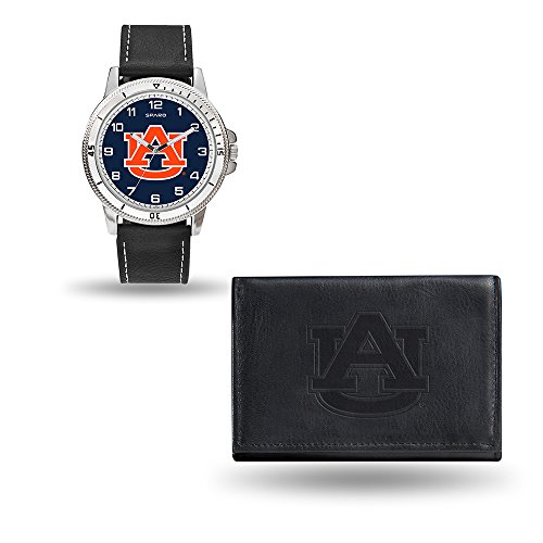 Rico Industries NCAA Auburn Tigers Men's Watch and Wallet Set, Black, 7.5 x 4.25 x 2.75-Inch
