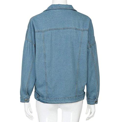 Manches Boyfriend Reaso Jacket Bleu Jeans Button Mode Longues Blouse Denim Loose Casual Femme Tunika Outwear Oversize Retro Blouson Manteau Cardigan Hiver Coat 1zwxE7