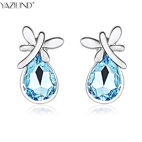 Jewels Women Silver Stud Earrings 2017 Unique Design Charm Blue Crystal Earrings Jewelry for Best One (Light Yellow Gold Color)