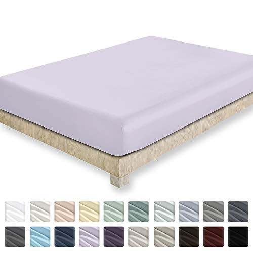 400 Thread Count 100% Cotton Fitted Sheet - Lavender King Size 1 Fitted Sheet Only, Long Staple Combed Pure Natural Cotton Sheet, Soft Sateen Weave - Fits Mattress Upto 18