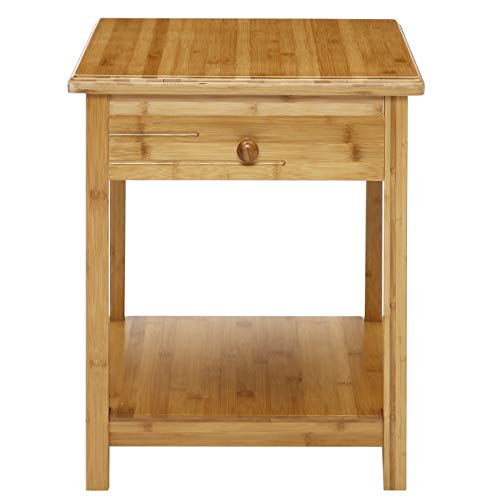 UNICOO-Antique Style Solid Wooden End Table, Sofa Side Table, Bedroom Nightstand, Plant Stand, Telephone Stand, Vase Stand with Drawer and Shelf. Nature