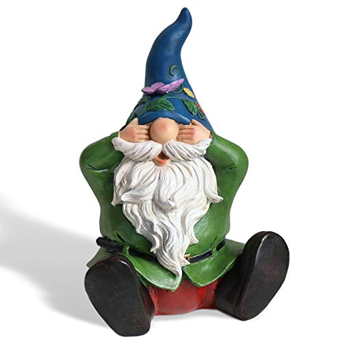 LUOSANJI Garden Gnomes Sees No Evil Statues Outdoor Funny Lawn Statue Gnome Yard Decorations, 9 inch Tall