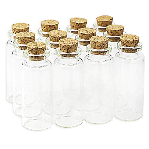 20PCS 20ml Cork Stoppers Small Glass Bottles, DIY Decoration Mini Glass Bottles Favors, Tiny Vials Cork, Message Glass Bottle Vial Cork, for Wedding Decoration, Party Supplies, Wishing Bottles