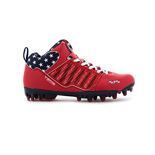 4aa1f496959d Boomah Men's Ikhana Molded USA Lacrosse Cleat Mid Red/Navy/White - Size 7.5