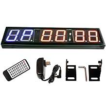 "Eu 4"" 6 Digits Programmable Interval Countdown  / Up Stopwatch Wall Clock"