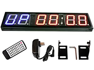 """Eu Programmable 4"""" 6 Digits Interval Led Countdown / Up Stopwatch Wall Clock"""