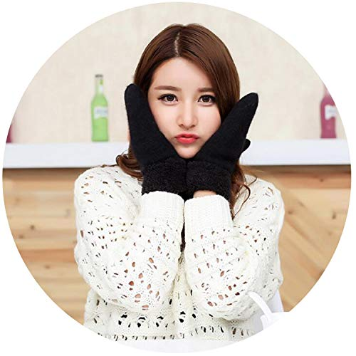 Crazy-Shop Lovely Female Winter Knit Wool Thicker Cashmere Velvet Warm Black Gloves Ladies Cute Fingerless Women Solid Mittens Guantes L83,Black,One -