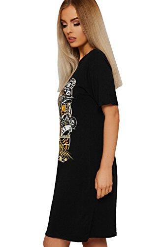 WEARALL Damen T Hemd Mini Kleid Top Damen Freiheit West Küste Adler ...