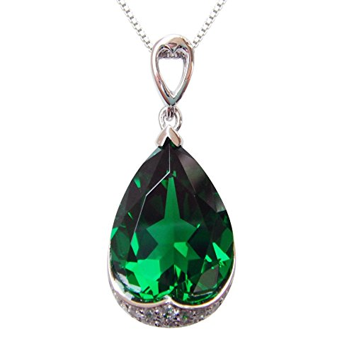 - Navachi 925 Sterling Silver 18k White Gold Plated 10.5ct Pear Emerald Az9639p Necklace Pendant 18