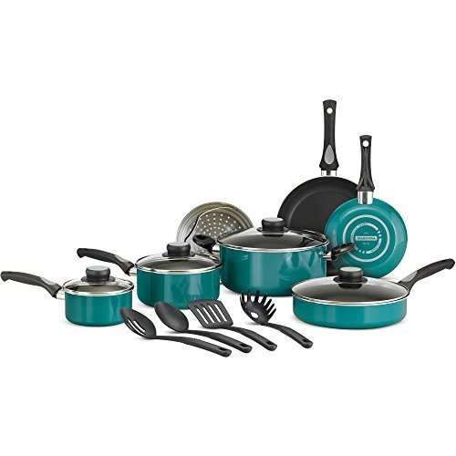 Tramontina 15-Piece Nonstick Cookware Set, Teal Blue