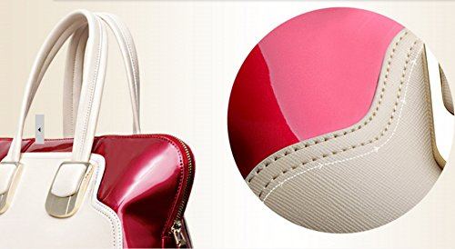 Sac femme à main, sac à main laqué rouge, bleu, sac à main vernis. - rouge
