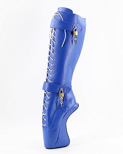 Bottes Padlocks Fétiche Ballet Heel Wedges Genoux Bleu 7