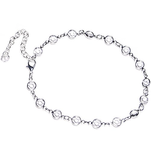 (Body Candy Handcrafted Clear Accent Adjustable Anklet Created with Swarovski Crystals)