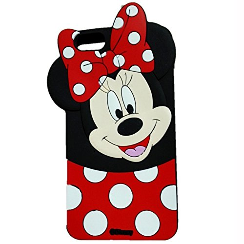 Jinxtech Minnie Shaped Adorable 3D Cute Cartoon Character Soft Rubber Silicone Case with a Strap for iPhone 6,iPhone 6s (4.7 Inch)(Minnie)