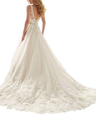 Neck Ball Double Wedding Fanciest Kleid V Kleides Women's or White 2016 Bride Spitzen qAgwISt