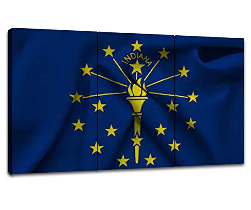 (Indiana State Flag Wall Decor Picture American Wall Art for Living Room Canvas Prints USA Flag Poster Frame Artwork Paintings Home Bedroom Office Decoration Hang(48''Wx26''H) )