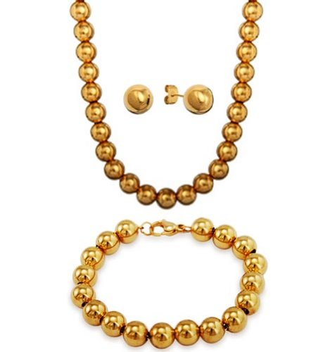 18k-GOLD PLATED Designer Inspired 8mm LARGE SHINY POLISHED Italian Sterling Silver Round BALL Bead Necklace 18''in with 8'' Bracelet and 8mm Ball Stud Earrings SET COMBO by THE ICE EMPIRE JEWELRY, LLC