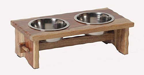 Small ''Rustic'' Wooden Elevated Raised Pet Feeder - Deluxe Pet Diner by Pet Hup Hup
