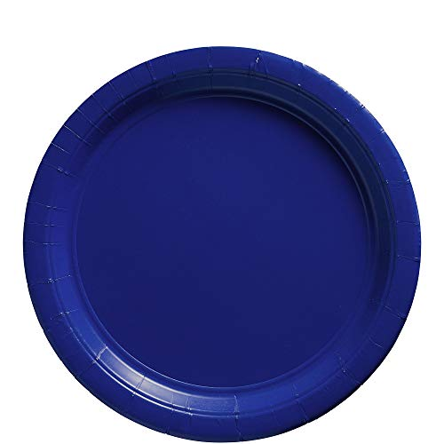 Amscan Bright Royal Blue Paper Plate Big Party Pack, 50 -