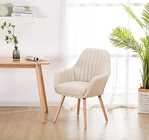 YEEFY Contemporary Modern Muted Fabric Accent Arm Chair and Soft Padded Shell Chair with Solid Wood Legs (Beige)