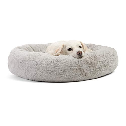 Best Friends by Sheri Luxury Faux Fur Donut Cuddler (23x23), Gray - Small Round Donut Cat and Dog Cushion Bed, Orthopedic -