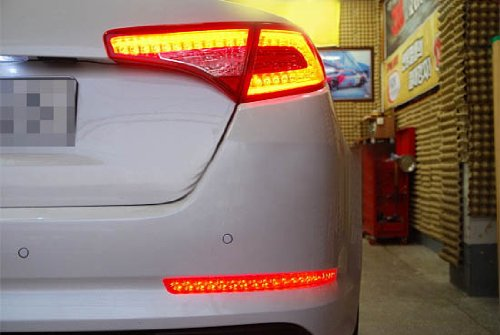 iJDMTOY Brilliant Red 40-SMD LED Bumper Reflector Lights for 11-13 Kia Optima K5, Function as Tail & Brake Lamps by iJDMTOY (Image #7)