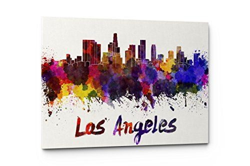 New York Skyline Poster - Watercolor City Splash Skyline Wall Art Canvas Print (Los Angeles)